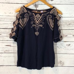 Alya Size Small Navy Top With Pink Embroidery